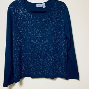 Chico's size 2 with embellished front navy top